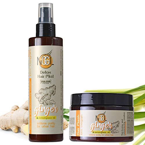 NGGL Veganes Entgiftendes und Entschlackendes Premium-Spa für die Haare mit 100% natürlichem Zitronenöl und Ingwerextrakt,Haar-und Kopfhautmaske 350 ml und Texturierendes Haarspray mit Meersalz 200 ml