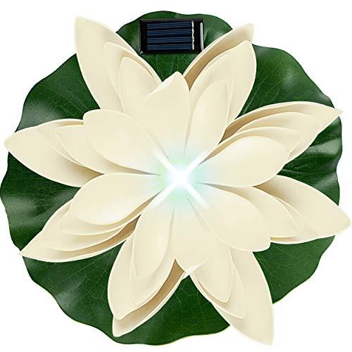 alles-meine.de GmbH Solar - LED Licht - schwimmende Seerose - weiß & grün - Ø 29 cm - Leuchte - Blume Blüte - Solarblume - Garten Wetterfest für Innen Außen - Wasser - Teich - Te..