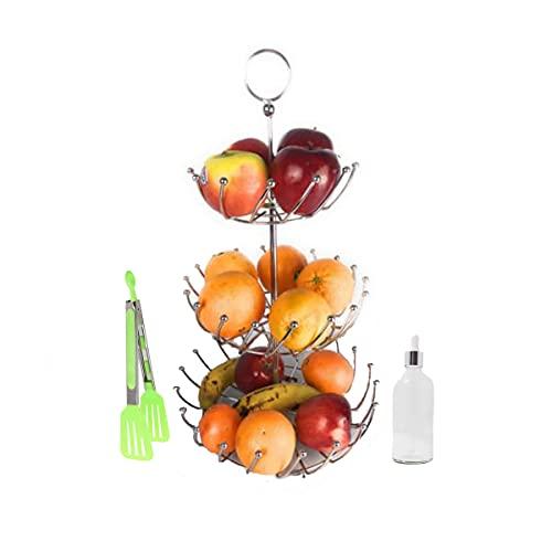 PACK - Frutero de 3 Alturas Para La Cocina De Acero Inoxidable Desmontable - Redondo y Moderno + Pinza de cocina + Aceitero de Gotas (Pack frutero Acero)