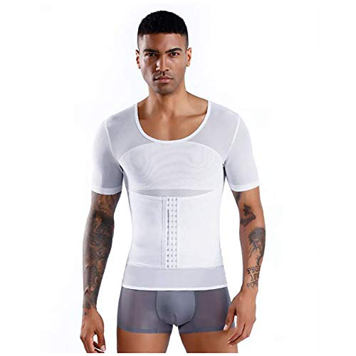 Talladora de la cintura del cuerpo Hombres Fajas adelgaza la talladora del cuerpo de 2 Piezas hombres de la correa que adelgaza la camisa de Fajas de compresión de la ropa interior de la panza de cont