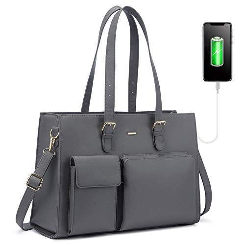 LOVEVOOK Handtasche Damen Shopper Damen Groß Laptop Tasche 15.6 Zoll Aktentasche Leder Businesstasche Damen Arbeitstasche Notebooktasche Schule Taschen, Grau
