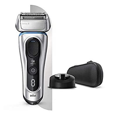 Braun Series 8 8350s Next Generation, Electric Shaver with Charging Stand and Fabric Travel Case, Wet and Dry, Foil Shaver, 100 Percent Waterproof, Rechargeable and Cordless Razor, Silver by Procter & Gamble