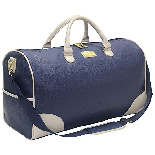 Nicole Miller New York Designer Duffel Bag Collection - Lightweight 21 Inch Travel Tote for Men & Women - Weekender Overnight Gym Carry On Suitcase (Ivory)