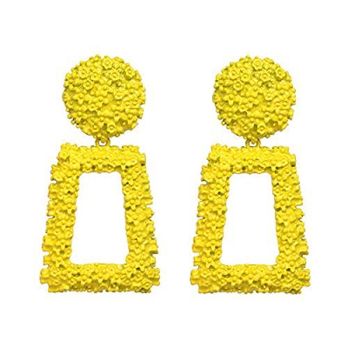 Pendientes grandes de metal de color dorado de moda punk maxi geométricos pendientes de mujer colgantes pendientes de fiesta encanto-amarillo