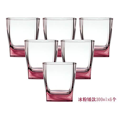 VYEKL Hitzebeständige Glas Familie Set Wasser Tasse Wohnzimmer Teetasse verdickt 300ml 6 Packungen