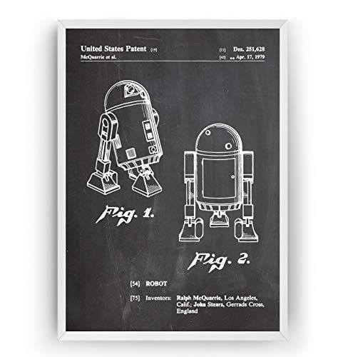 R2D2 1979 Patent Poster - Jahrgang Drucke Drucken Bild Kunst Geschenke Zum Männer Frau Entwurf Dekor Vintage Art Gifts For Men Women Blueprint Decor - Rahmen Nicht Enthalten