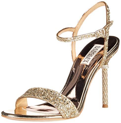 Badgley Mischka Women's Olympia Heeled Sandal, Platino Glitter, 6.5 M US