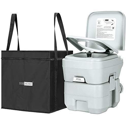 VIVOHOME 5.3 Gallon Waste Tank Portable Indoor Outdoor Toilet Compact Double-outlet Anti-leak Seal Ring Commode with Travel Bag Sprinkling Bottle and Cleaning Brush for Camping RV Boating Fishing