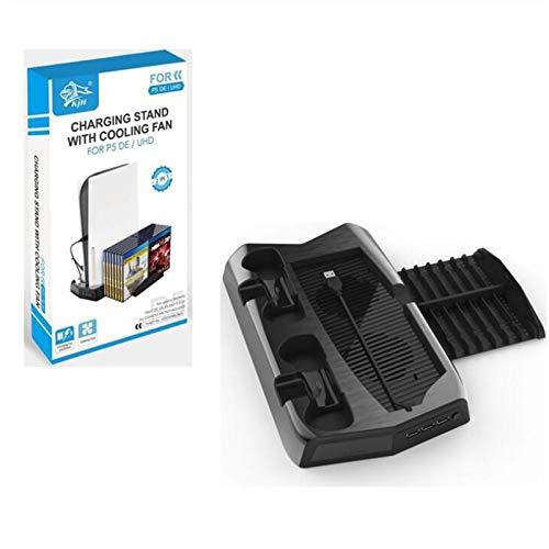 ZQIAN PS5 Ventola di raffreddamento con 2 Ventola di Raffreddamento PS5 Controller Charger con Dual Controller Base di ricarica per Il Controller di Gioco, con 3 Porte USB e 14 Slot Game Disc Storage
