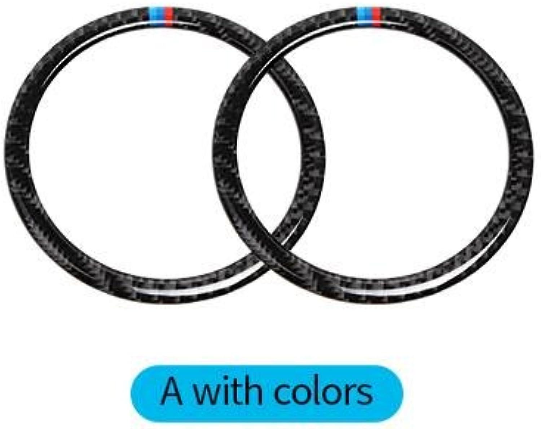 Carbon Fiber Car Door Speaker Decorative Circle Sticker Loudspeaker Trim Car Styling for BMW E90 320i 325i E84 X1  (color Name  A)
