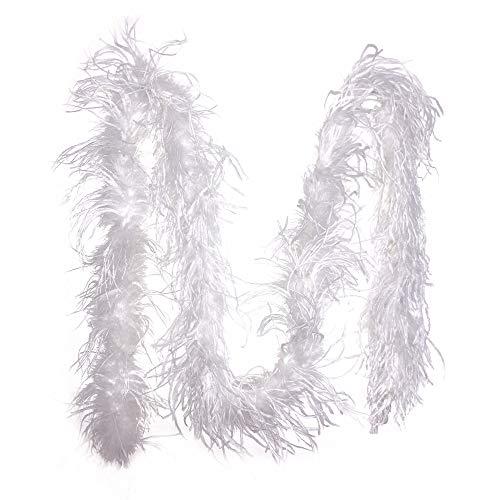 PANAX Federboa Weiß aus echten Straußenfedern in 200cm Länge - Ideal für Fasching, Karneval, Halloween, Tanz- Kostüme, Basteln, Burlesque, Varietee