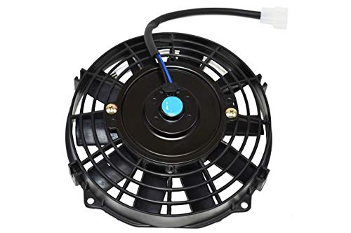 A-Team Performance 120021 Electric Radiator Cooling Fan Condenser 8inch High Performance 1700 CFM 12V Reversible 10 Inches Flat Blades Black