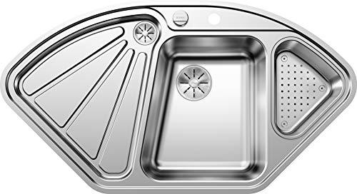 Blanco Delta-IF, Eckspüle, Küchenspüle, für normalen und flächenbündigen Einbau, mit Ablauffernbedienung und mit Schale, Edelstahl Seidenglanz; 523667