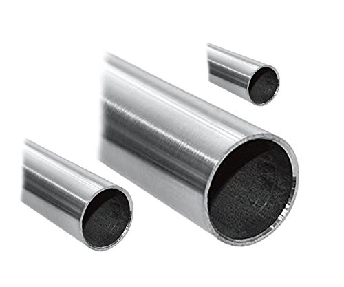 Tubo de acero inoxidable V2A, redondo, tubo para barandilla pulido grano 240 - diferentes diámetros y longitudes
