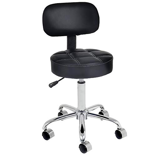 CoVibrant Well Cushioned Adjustable Rolling Stool with Wheels and Back for Office Desk Home Kitchen Massage Medical Lab Salon Artist (Black)