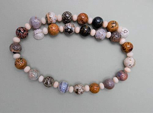 Halskette Kette Damen Edelstein Jaspis Ozean-Jaspis bunt Jade crème-weiß facettiert Geschenk handmade hilla-beads