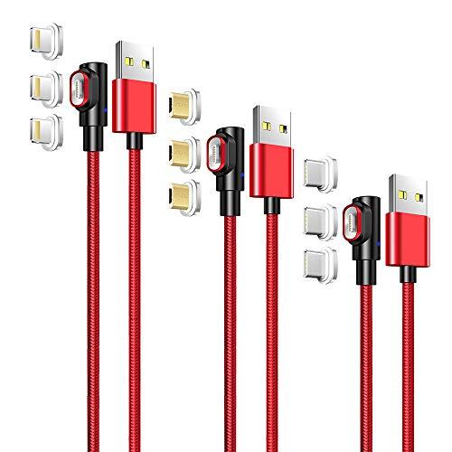 LAMA 90° Magnetisches USB Ladekabel [3 Stück 1M + 1,5M + 2M] 3A Datenkabel Magnet Kabel Sync und Schnellladekabel mit Blitz Type C Micro USB Magnetstecker für Phone Android Windows Phone