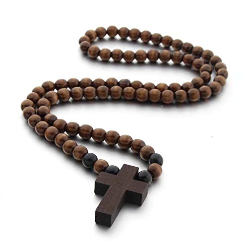COLORFUL BLING Classic Natural Wood Beads Cross Pendant Necklace for Men Women Religious Rosary Jewelry Handmade Prayer Accessories-Dark