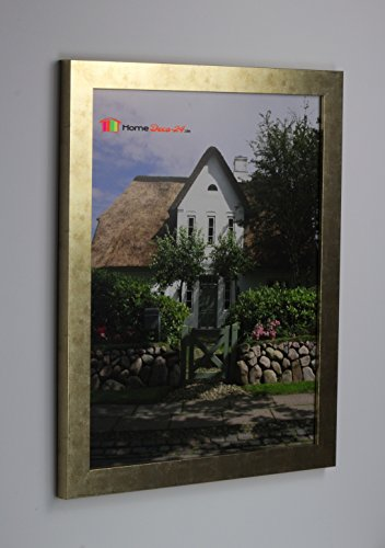 Homedeco-24 Narvik Bilderrahmen im Bauhaus Stil, eckig und stabil 33,7 x 48,5 cm Größen Auswahl 48,5 x 33,7 cm Farbe Gold Antik Ohne Verglasung