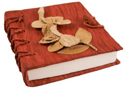 Life Arts Flaura Agenda in Corteccia Fatto a Mano A6+ (12x17cm) Rosso Elettrico