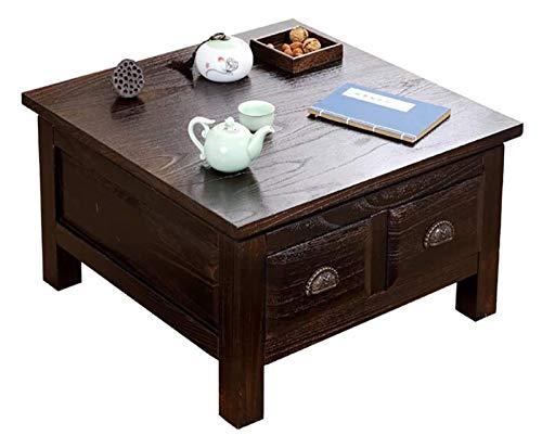 Mesa de ceremonia de té de mesa de té de mesa baja Escritorio de computadora para altura de tatami, mesa moderna de café Mesa cuadrada vintage de madera maciza estilo japonés estilo tatami mesa de caf