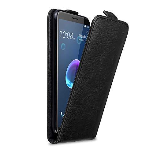Cadorabo Hülle für HTC Desire 12 in Nacht SCHWARZ - Handyhülle im Flip Design mit Magnetverschluss - Hülle Cover Schutzhülle Etui Tasche Book Klapp Style