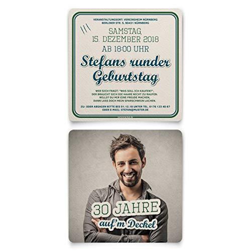 30 x Geburtstag Einladungskarten individuell mit Ihrem Foto und Text Quadratisch 148x148 mm mit abgerundeten Ecken - Auf'm Deckel