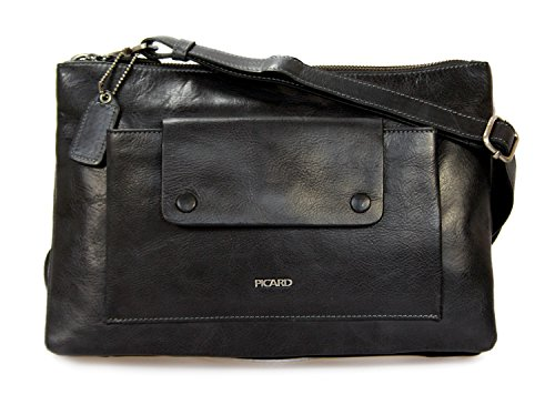 Picard Mounty 8978 Ledertasche Umhängetasche mittelgroß Damentasche freie Farbwahl, 30x20x4 cm (B x H x T) (schwarz)