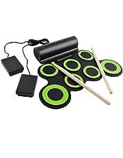 deAO Vikbart elektronisk trumset uppsättning. Ett underhållningsspel med inbyggda högtalare, fotpedaler och trumpinnar - perfekt för barn