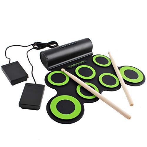 deAO Kit de Batería Electrónica con Modelo Plegable Portátil Conjunto Tapete Musical de Percusión Tambores, Platillos y Altavoces Incorporados Incluye Baquetas y Pedal