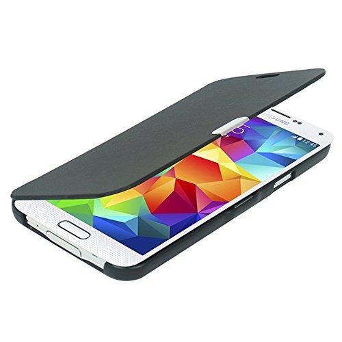 MTRONX für Samsung Galaxy S5 Mini Hülle, Case Cover Schutzhülle Tasche Etui Klapphülle Magnetisch Dünn Leder Folio Flip für Samsung Galaxy S5 Mini - Schwarz(MG-BK)