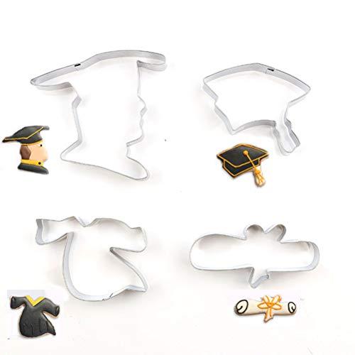 Amosfun 4pcs formine per biscotti torta fondente stampo laurea dottore testa abito vestiti certificato cappello embosser sugarcraft stampo decor pasta strumenti di modellazione