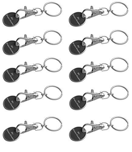 10x Metall Schlüsselanhänger mit Gravur / mit Einkaufschip / Farbe: schwarz