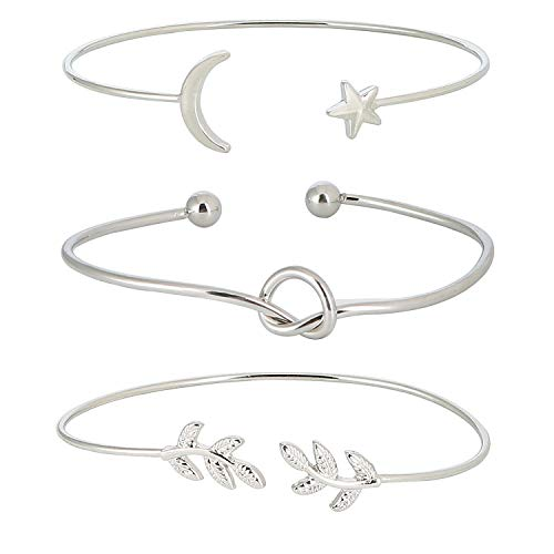 ASHMITA 3Pcs Rose Gold Bangle for Women Simple Olive Leaf|Star Month|Knot Heart Cuff Bracelet Gift Jewelry