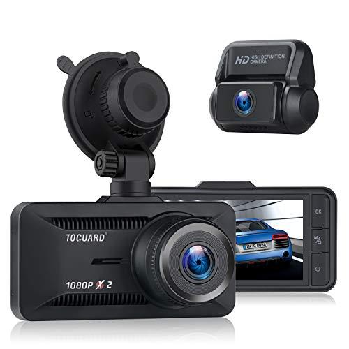 Toguard Dual Dashcam 1080P Full HD Vorne und Hinten, Autokamera 3 Zoll IPS-Bildschirm mit 170° Weitwinkel, Videorecorder, GPS, WDR, Loop-Aufnahme, Parküberwachung mit G-Sensor, 128 GB Unterstützt