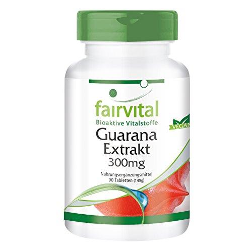 Guarana Tabletten - 300mg Guarana-Extrakt pro Tablette - Energizer - HOCHDOSIERT - Paullinia cupana - VEGAN - 90 Tabletten