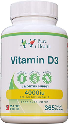 A to Z Pure Health Vitamin D 4000iu (1 Year Supply) | 365 Vitamin D3 Softgels | Immune Boosting Vitamin D Supplements |