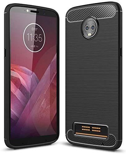 Toppix für Motorola Moto Z3 Play Hülle, TPU Silikon Handyhülle für Motorola Moto Z3 Play - Handy Hülle mit Karbon Optik in Schwarz