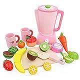 Toyvian Küchenspielzeug Küchengerät Entsafter Holz Schneidbaren Obst Gemüse Lebensmittel...