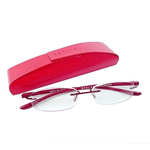 ビグラッド(BEGLAD) 老眼鏡 レッド 度数:+1.00 【軽量フチなし おしゃれなケース付】 BG3007RD