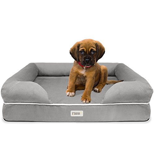 SCM Orthopedic Dog Bed Lounge Sofa - 100% Suede Removable Cover - 10cm Mattress Memory Foam Premium Prestige Edition - Ultimate Dog Bed for Large Dogs