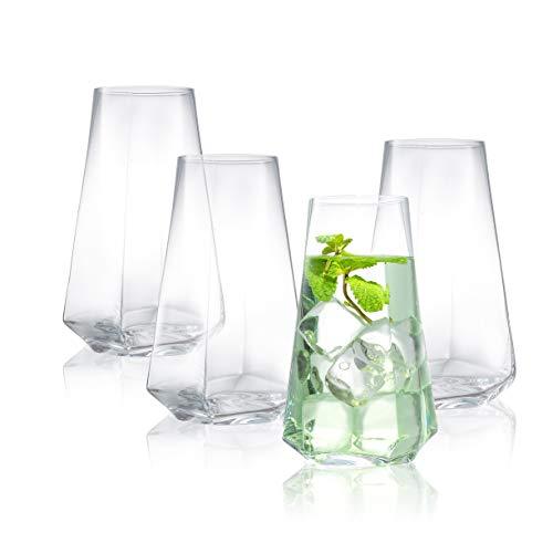 JoyJolt Infiniti Highball Glasses Set of 4 – 18Oz Cocktail Glasses – Glassware Drinking Set – Premium Crystal Glass – Modern and Practical Design – Drinking Glasses for Water, Cocktail, Beer, Juice