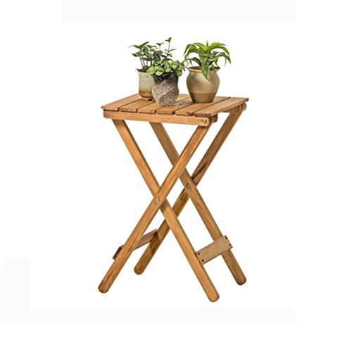 ZI LING SHOP- Nordic Simple Wood Flower Racks Salon Balcon Table de pliage paresseuse Table à café Petite table à l'extérieur (35.5x35.5x60cm) Flower racks (Couleur : Naturel)