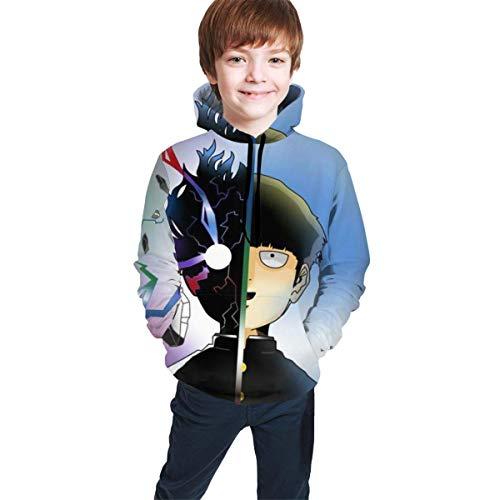 AOOEDM Unisex Niños Sudaderas con Capucha Suéteres Mob Psy-cho-100 Ropa de Jersey Impresa en 3D con Bolsillo para Adolescentes