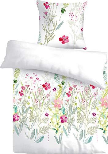 FAKTOR - 2 Bettwäsche 135x200 Baumwolle als Winterbettwäsche und Sommerbettwäsche geeignet, weiß mit Blumen