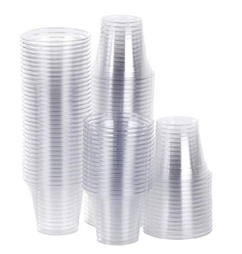 TashiBox Disposable Plastic Party Cups, Tumblers, 100 Count, 9 oz, Crystal Clear