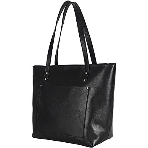 Elizo Handgefertigte Ledertasche für Damen – Leder-Handtasche für Frauen – Metallnieten, Schwarz (schwarz), Medium