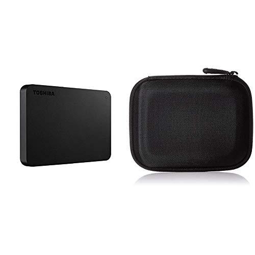 Toshiba HDTB410EK3AA Canvio Basics Tragbare Externe Festplatte USB 3.0, 1TB schwarz & Amazon Basics Festplattentasche, schwarz