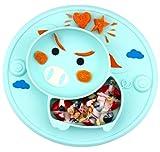 Assiette à ventouse pour bébé silicone, plaque d'alimentation antidérapante pour tout-petits Les enfants avec une forte aspiration, solide et épaisse, set de table pour bébé avec compartiments