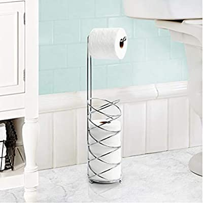 Inspired Living Holder Reserve Stand Toilet Paper Tower, Spiral, SILVER